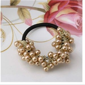 Boutique rose gold beaded hair tie
